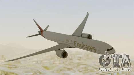 Boeing 777-9x Emirates Airlines para GTA San Andreas vista posterior izquierda