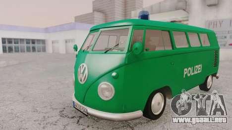 Volkswagen T1 Polizei para la visión correcta GTA San Andreas