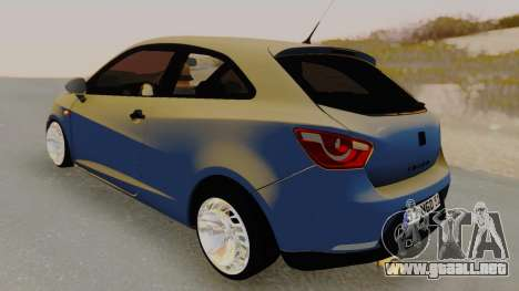 Seat Ibiza para GTA San Andreas vista posterior izquierda
