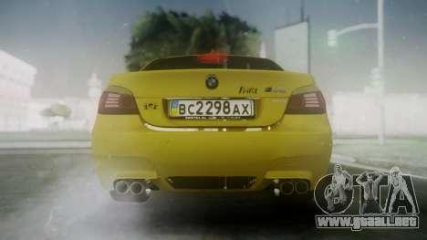 BMW m5 e60 Gold para GTA San Andreas vista posterior izquierda