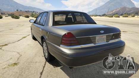 GTA 5 Ford Crown Victoria Detective vista lateral izquierda trasera