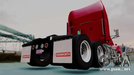 Kenworth T800 38s Austero Flat Top para GTA San Andreas vista posterior izquierda