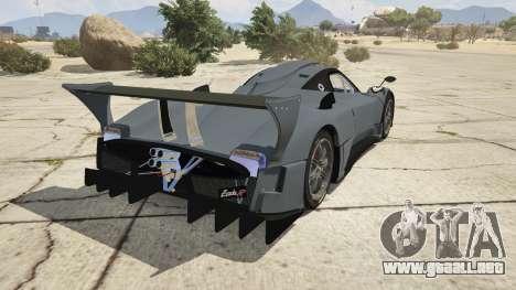GTA 5 Pagani Zonda R v1.0 vista lateral izquierda trasera