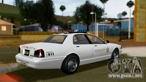 GTA 5 Vapid Stanier II Sheriff Cruiser para GTA San Andreas left