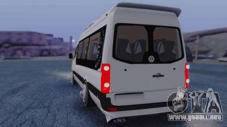 Volkswagen Crafter 2015 para GTA San Andreas vista posterior izquierda