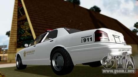 GTA 5 Vapid Stanier II Sheriff Cruiser para GTA San Andreas vista posterior izquierda