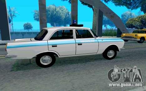 Moskvitch 412 De La Policía para GTA San Andreas vista posterior izquierda