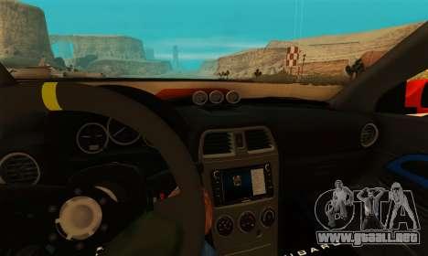 Subaru Impreza WRX STi LP 400 para GTA San Andreas vista hacia atrás