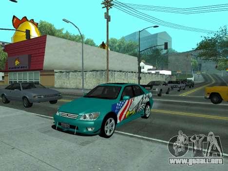 Toyota Altezza Tunable para GTA San Andreas vista hacia atrás