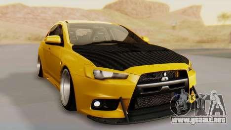 Mitsubishi Lancer Evolution X Stance para la visión correcta GTA San Andreas
