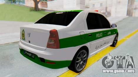 Dacia Logan Iranian Police Naja para GTA San Andreas vista posterior izquierda