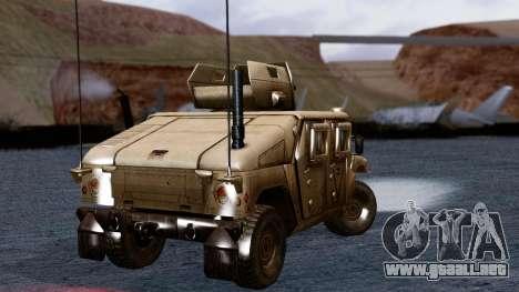 HUMVEE M1114 Desert para GTA San Andreas vista posterior izquierda