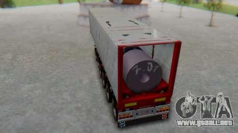 Trailer Colis Red para GTA San Andreas vista posterior izquierda
