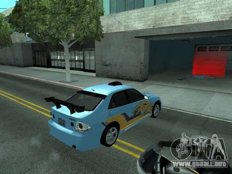Toyota Altezza Tunable para la vista superior GTA San Andreas