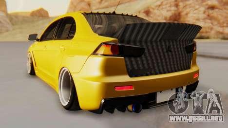 Mitsubishi Lancer Evolution X Stance para GTA San Andreas vista posterior izquierda