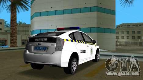 Toyota Prius De La Policía De Ucrania para GTA Vice City vista lateral izquierdo