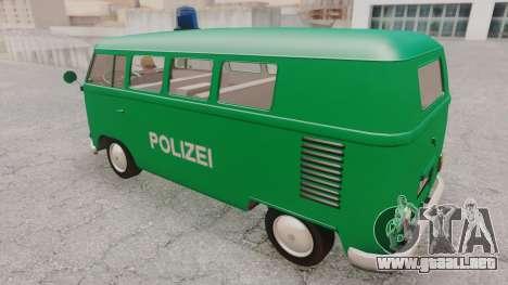 Volkswagen T1 Polizei para GTA San Andreas vista posterior izquierda