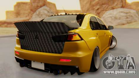 Mitsubishi Lancer Evolution X Stance para GTA San Andreas left