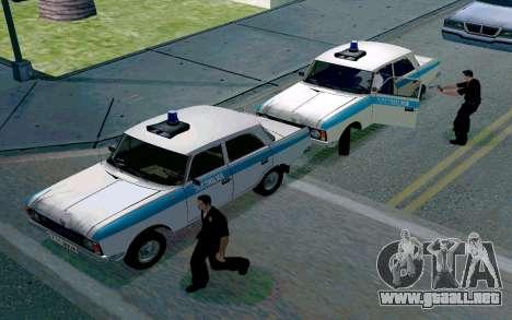 Moskvitch 412 De La Policía para GTA San Andreas vista hacia atrás