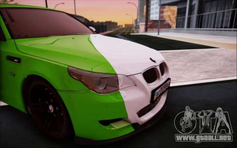 BMW m5 e60 Verdura para GTA San Andreas vista hacia atrás