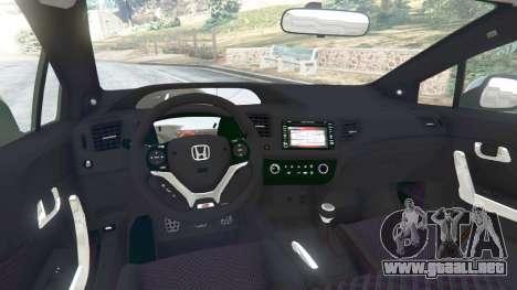 GTA 5 Honda Civic SI v1.0 vista lateral trasera derecha
