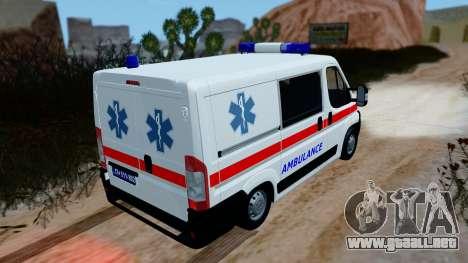 Fiat Ducato Serbian Ambulance para GTA San Andreas vista posterior izquierda