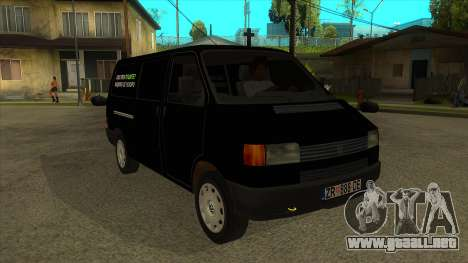 VW T4 Mrtvačka ruedas para GTA San Andreas vista hacia atrás