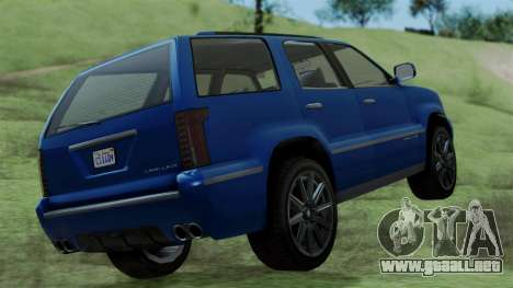 GTA 5 Albany Cavalcade v2 IVF para GTA San Andreas vista posterior izquierda