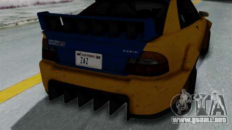 GTA 5 Karin Sultan RS Rally PJ para GTA San Andreas vista hacia atrás