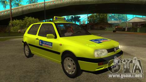 VW Golf Mk3 Top Speed Auto Skola para GTA San Andreas vista hacia atrás