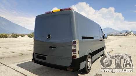 GTA 5 Mercedes-Benz Sprinter Worker Van vista lateral izquierda trasera