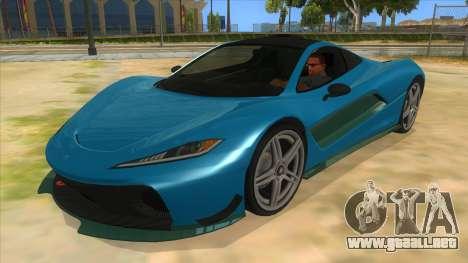GTA 5 Progen T20 Styled version para visión interna GTA San Andreas