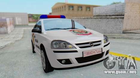 Opel Corsa C Policia para la visión correcta GTA San Andreas
