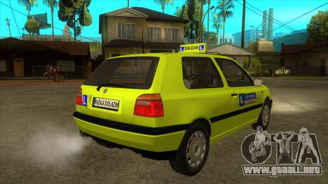 VW Golf Mk3 Top Speed Auto Skola para la visión correcta GTA San Andreas