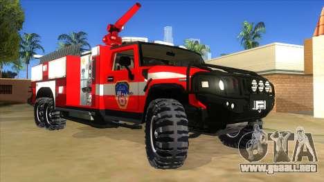HUMMER H2 Firetruck para GTA San Andreas vista hacia atrás