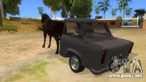 Trabant with Horse para GTA San Andreas vista posterior izquierda