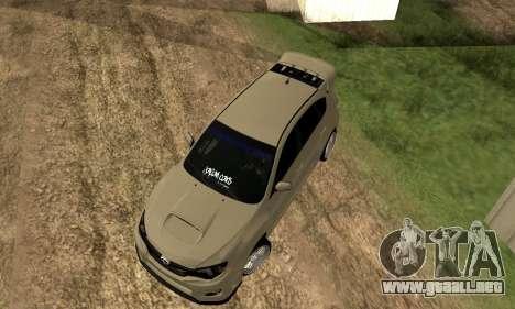Subaru Impreza WRX STI 2008 LPcars v.1.0 para GTA San Andreas vista hacia atrás