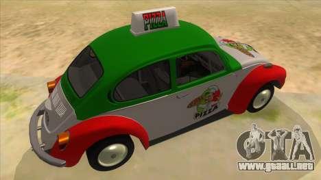 Volkswagen Beetle Pizza para la visión correcta GTA San Andreas
