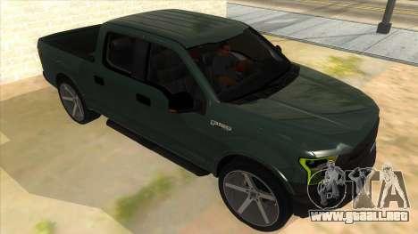 Ford F-150 2015 para GTA San Andreas vista hacia atrás