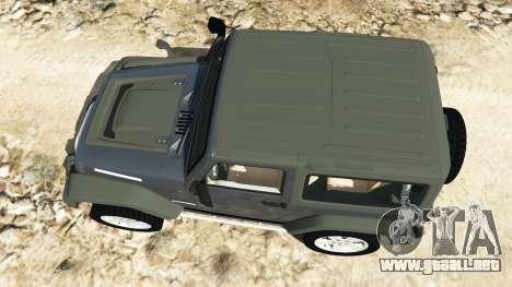 GTA 5 Jeep Wrangler 2012 v1.1 vista trasera