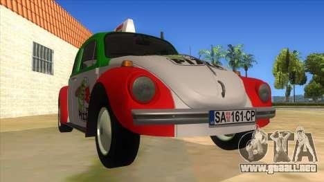 Volkswagen Beetle Pizza para GTA San Andreas vista hacia atrás