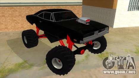 1969 Dodge Charger Monster Truck para GTA San Andreas vista hacia atrás