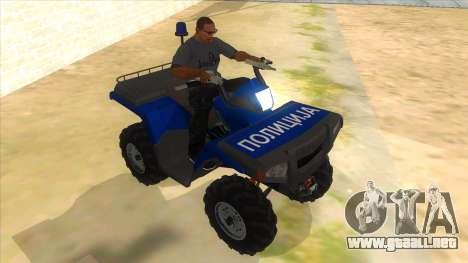 ATV Polaris Police para GTA San Andreas vista hacia atrás