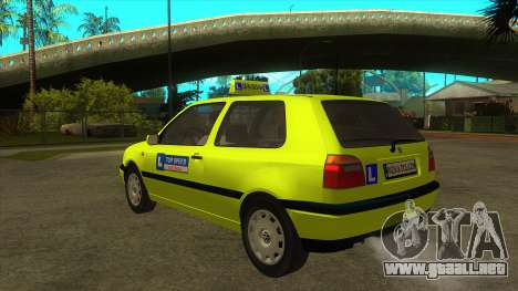 VW Golf Mk3 Top Speed Auto Skola para GTA San Andreas vista posterior izquierda