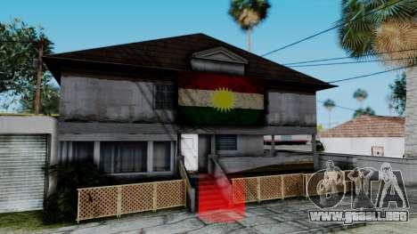 New CJ House with Kurdish Flag para GTA San Andreas segunda pantalla
