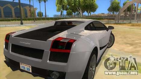 Lamborghini Gallardo 2012 Edition para GTA San Andreas vista posterior izquierda