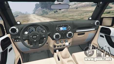 GTA 5 Jeep Wrangler 2012 v1.1 vista lateral trasera derecha