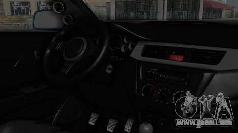 Mitsubishi Lancer Evolution IX MR Edition v2 para la visión correcta GTA San Andreas