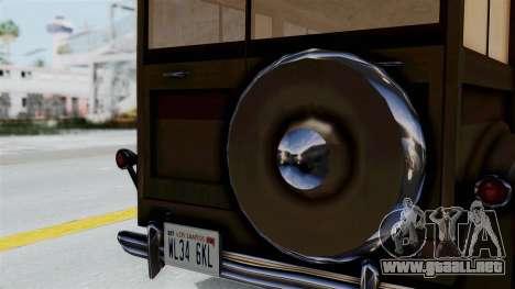 Lincoln Continental 1942 Mafia 2 v1 para GTA San Andreas vista posterior izquierda