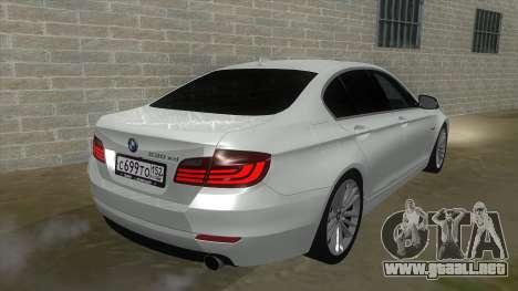 BMW 530XD F10 para GTA San Andreas vista hacia atrás